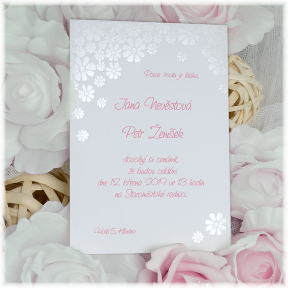 Cheap Embossed Flower Wedding Invitation
