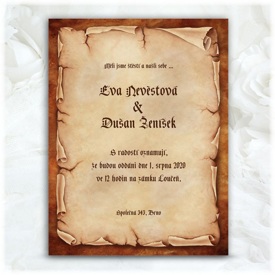 Vintage Wedding Invitations parchment