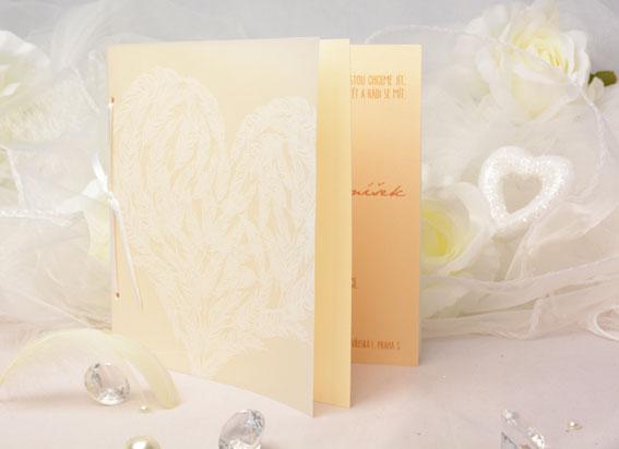 Otváracie vanilkovo zlatej svadobné oznámenie