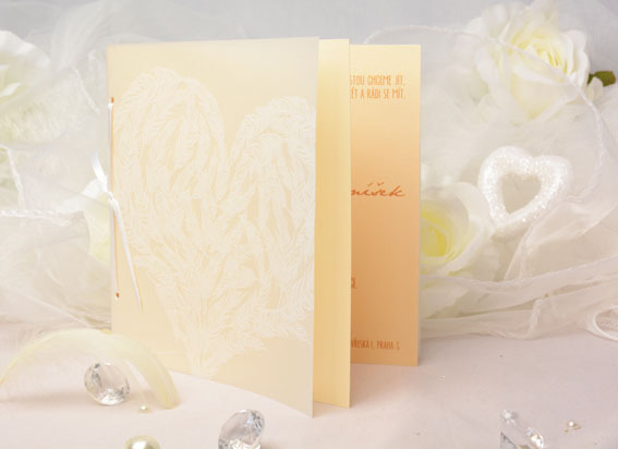 Opening vanilla gold wedding invitation