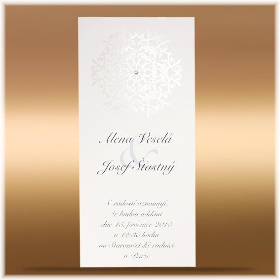 Elegantní svatební oznámení s lesklým ornamentem