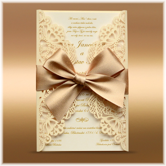 Luxury lace wedding invitation
