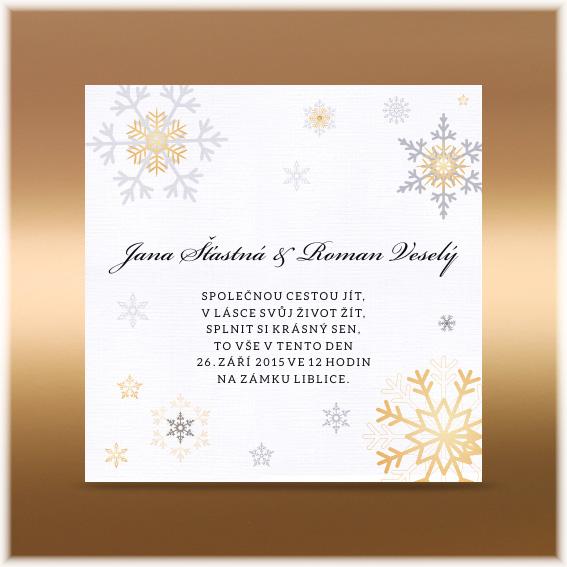 Zimní vánoční svatební oznámení se stylizovanými vločkami