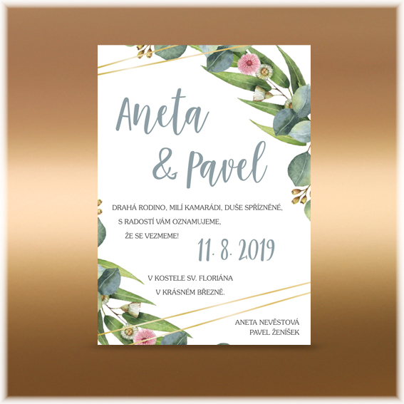 Wedding Invitation with Leave Branches and Gold Lines
