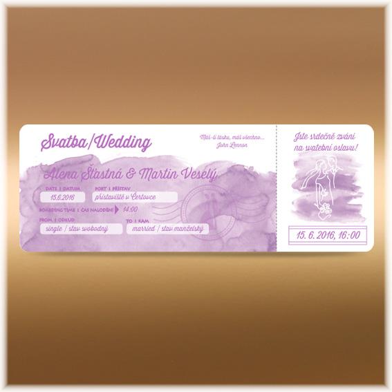 Purple Watercolour Ticket Wedding Invitation