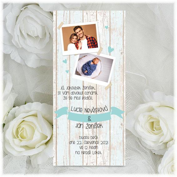 Vintage Wedding Invitation with child