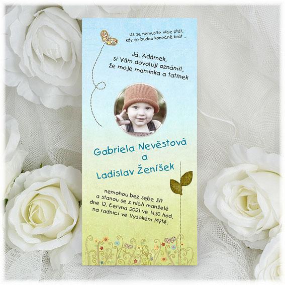 Svadobné oznámenia s fotografiou dieťaťa