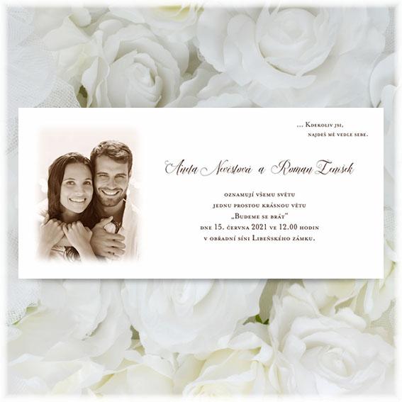 Svadobné oznámenia s fotografiou snúbencov