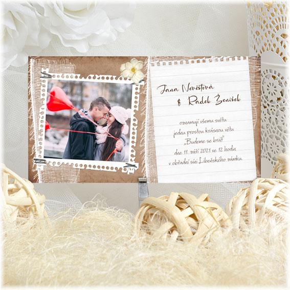 Přírodní svatební oznámení s fotkou