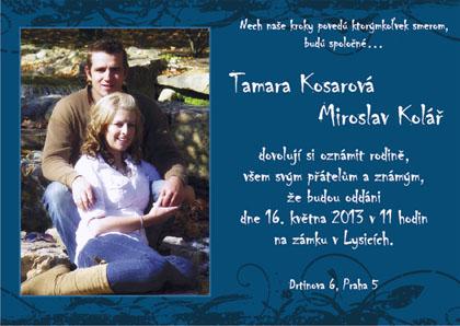 Svadobné oznámenie modré