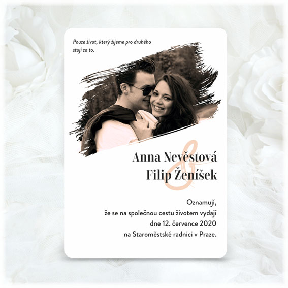 Wedding invitation with photo as a brush stroke
