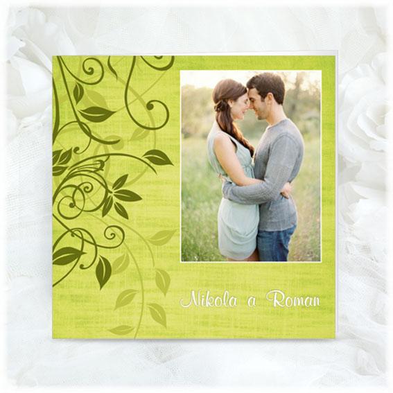 Jednoduché zelené svadobné oznámenie s fotografiou