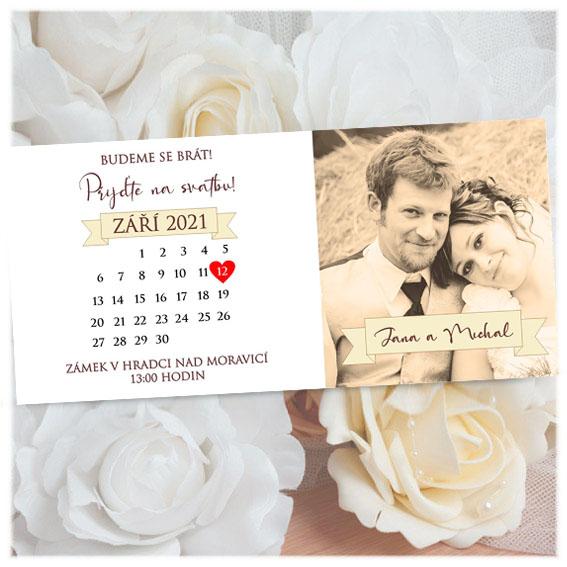 Wedding invitation with calendar