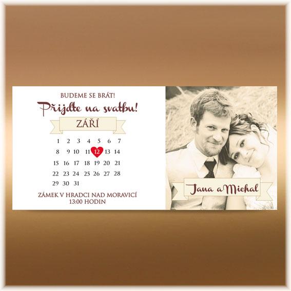 Svadobné oznámenie s kalendárom