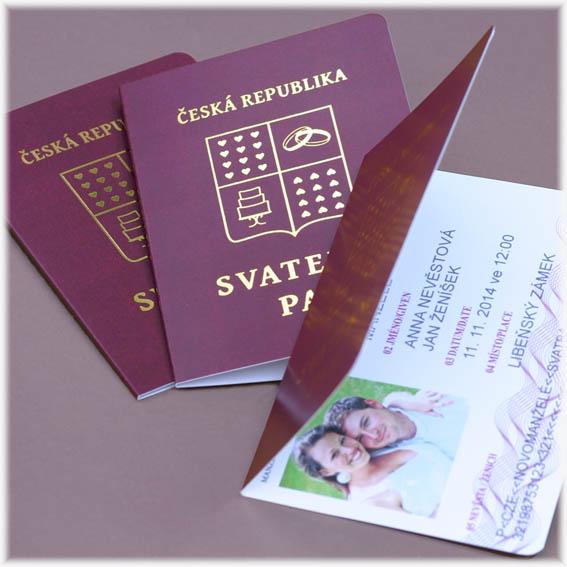 Svatební oznámení cestovní pas