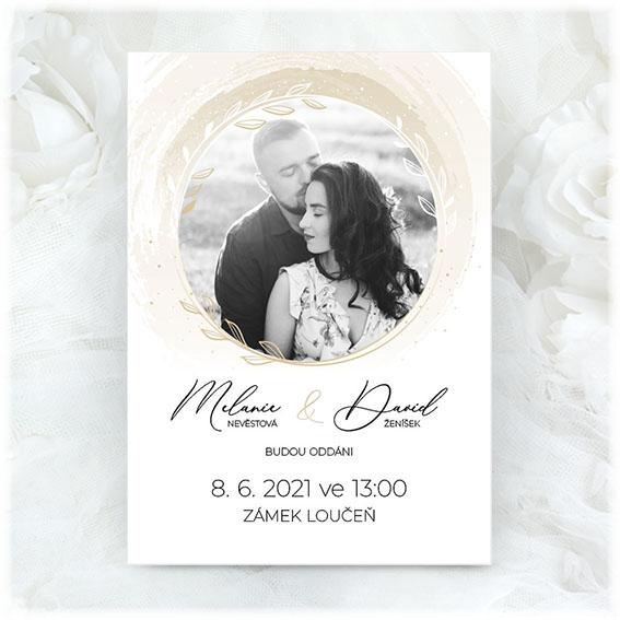 Creamy wedding invitation with photo