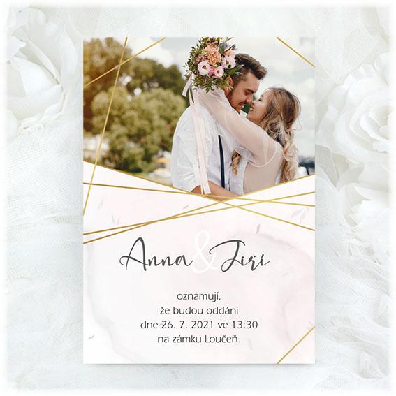 Wedding invitation photo of engaged couple