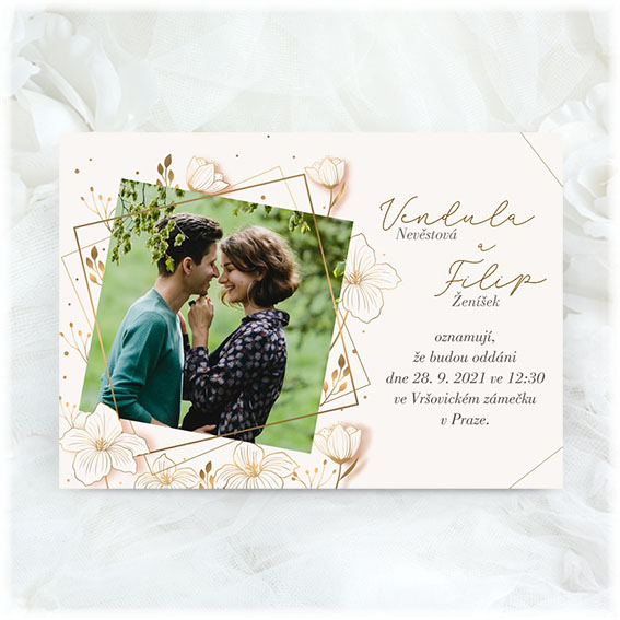 Creamy wedding invitation with photo