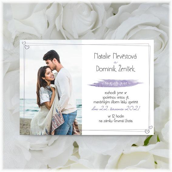 Svatební oznámení s rámečkem a fotografií