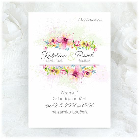 Pink green wedding invitation