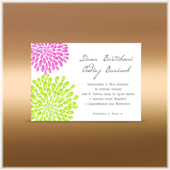 Svatební oznámení se stylizovanými kytičkami růžová zelená