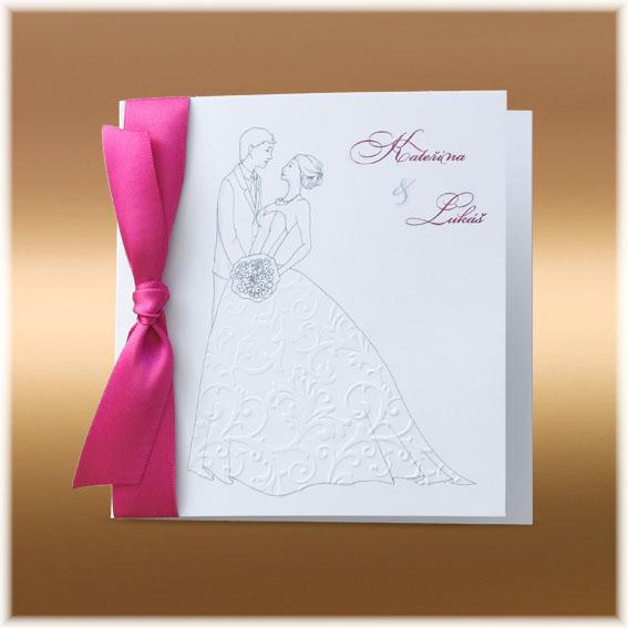 Svatební oznámení s nevěstou a ženichem