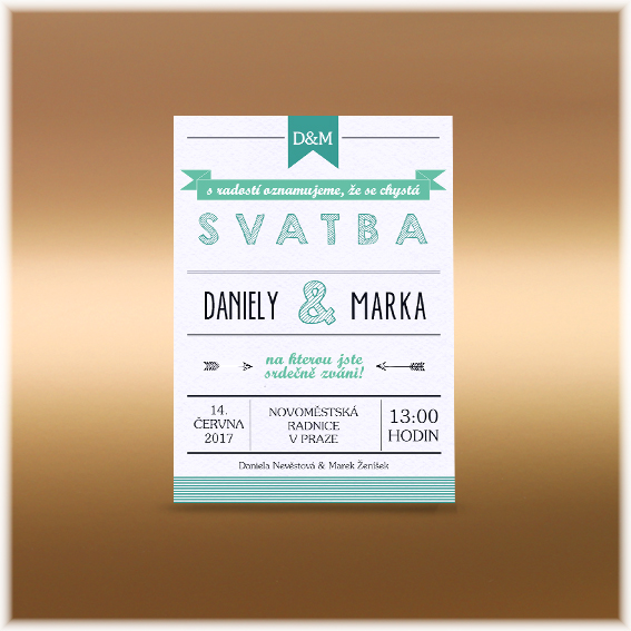 Stylish wedding invitation with mint text on paper with natural structure