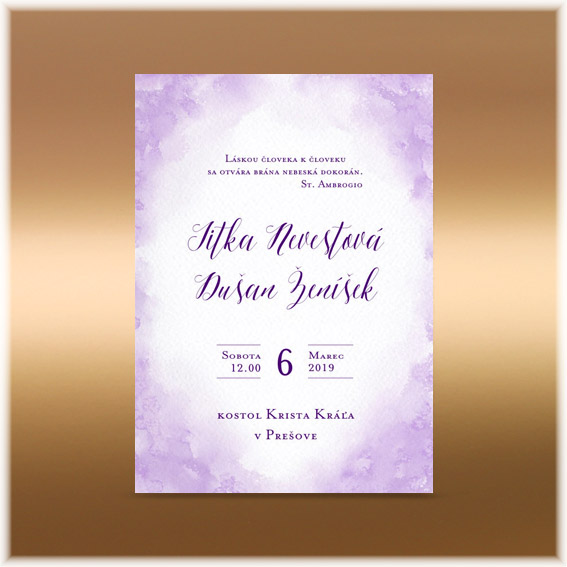 Akvarelové svatební oznámení lila