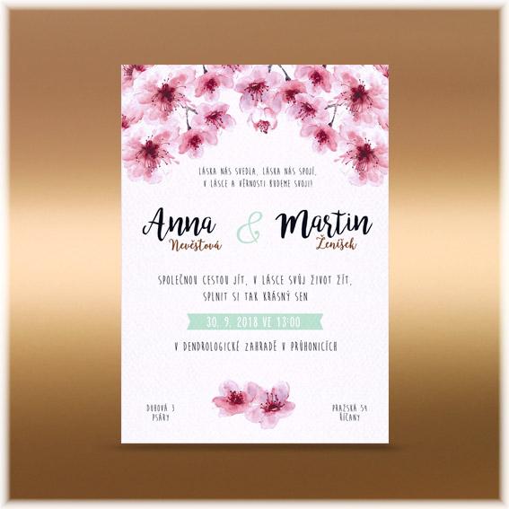 Svadobné oznámenie sakura