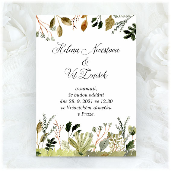 Wedding invitation with nature