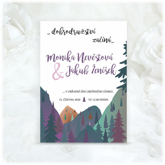 Forest themed wedding invitation
