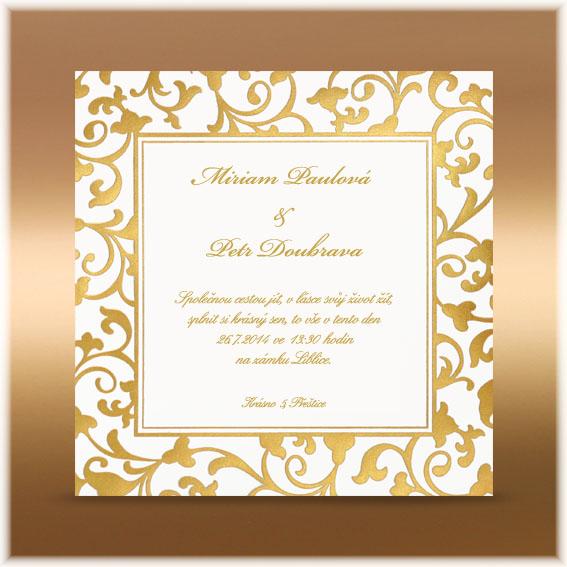 Svadobné oznámenia so zlatým ornamentom
