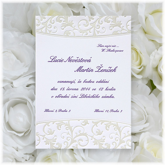 Svadobné oznámenia  s razbou ornamentom
