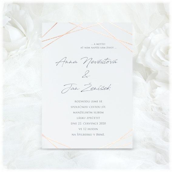 Svatební oznámení s geometrickým vzorem