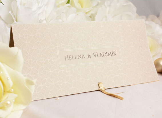 Wedding Invitations with tracing jacket and gold ribbon