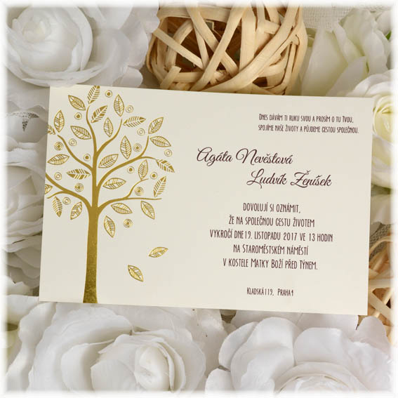 Gold Tree Wedding Invitation