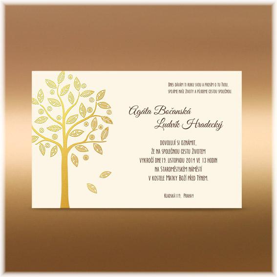 Gold Tree Wedding Invitation