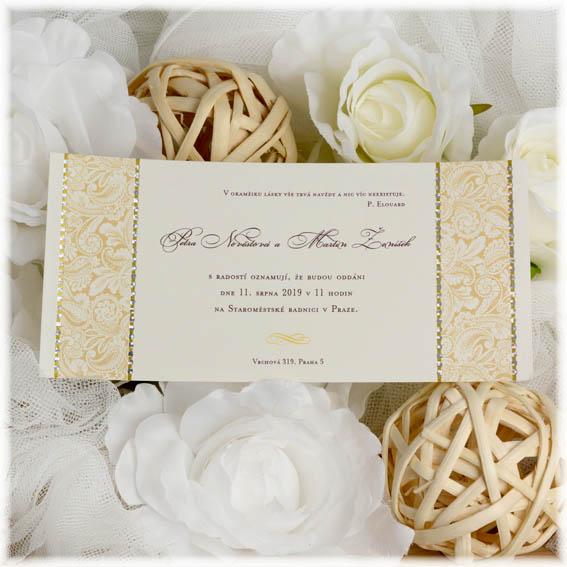 Svatební oznámení s lesklým zdobením