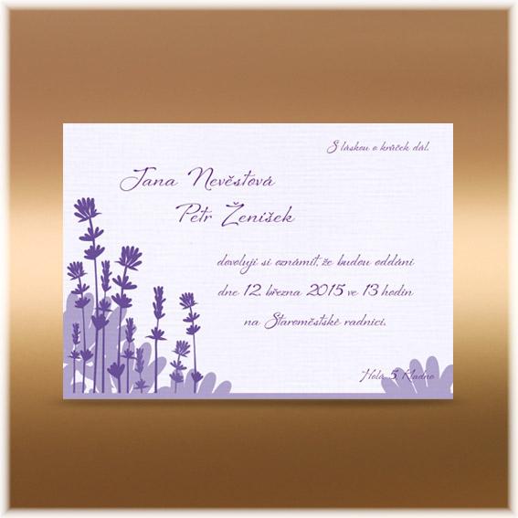 Svadobné oznámenia levanduľa
