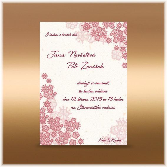 Vintage starorůžové krajkové svatební oznámení