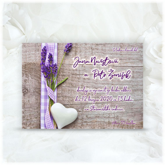 Lavender wedding invitation.