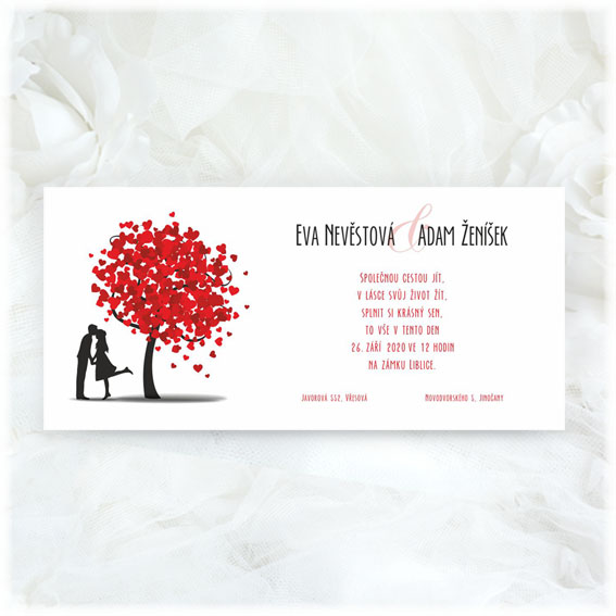 Wedding Invitation Tree Hearts Couple