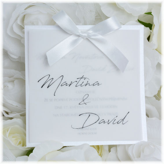 Transparent wedding invitation with a bow