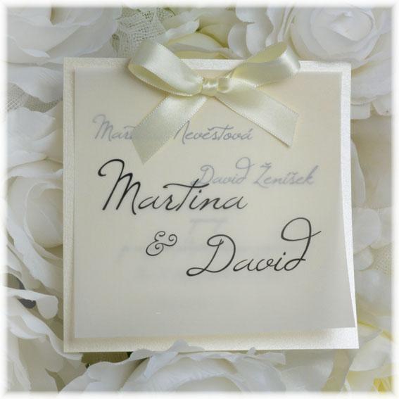 Priehľadné svadobné oznámenia s mašličkou