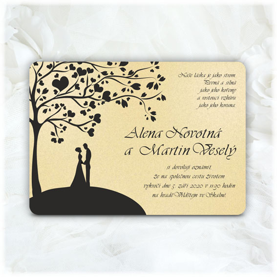 Wedding announcement tree couple