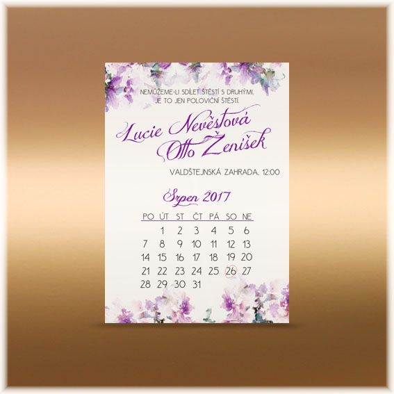 Purple floral wedding invitation calendar