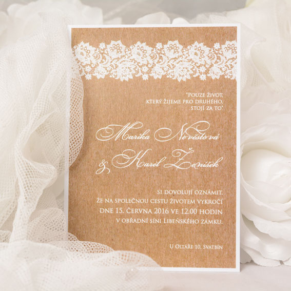Rustic wedding invitation with kraft backing and lace