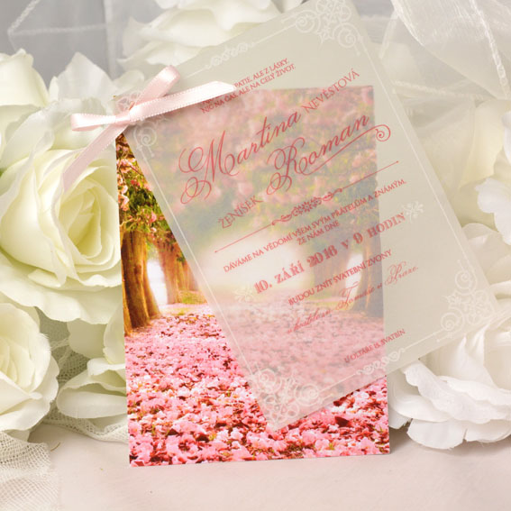 Originálne art deco svadobné oznámenia kvetinové