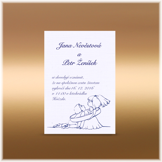 Svatební oznámení s nevěstou a ženichem v prstenu