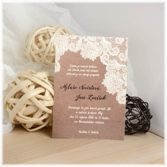 Lace Wedding invitation with the brown background
